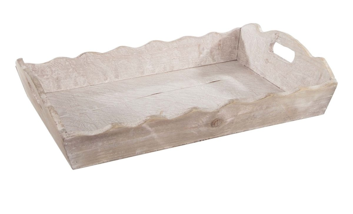 Holztablett Wellenrand / wooden tray wave frame